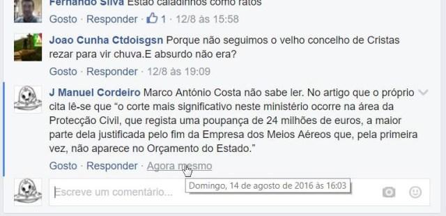 Comentário apagado da página de Marco António Costa