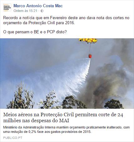 Marco António Costa a insinuar que os fogos se devem a menos