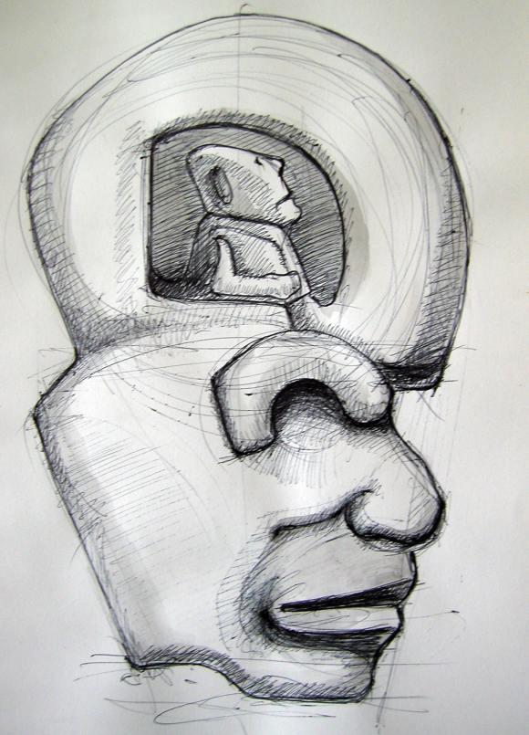 """Ilustração: """"Figura com Céu"""", Bruno Santos."""