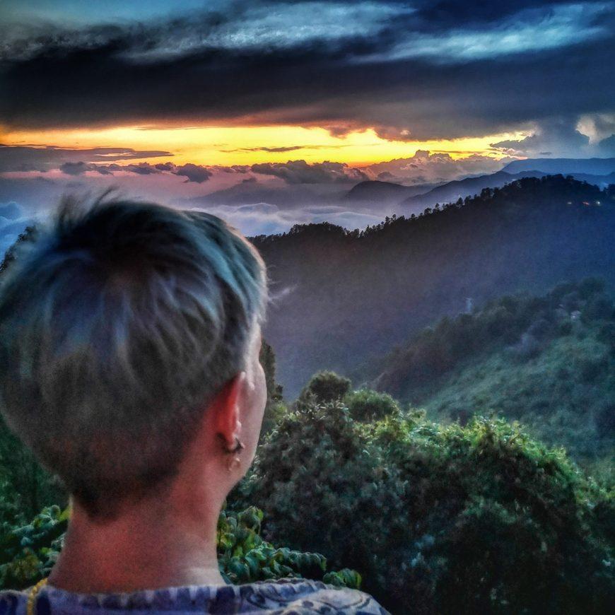 San josé del Pacífico - drone view clouds and sunset - portrait