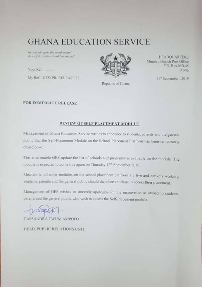 GES BECE SHS Self Placement Suspended review of placement module