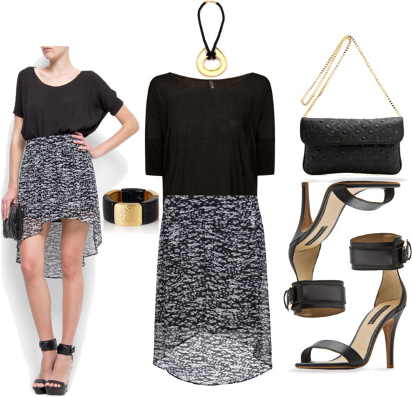 conservatively sexy high low hem skirt black white print