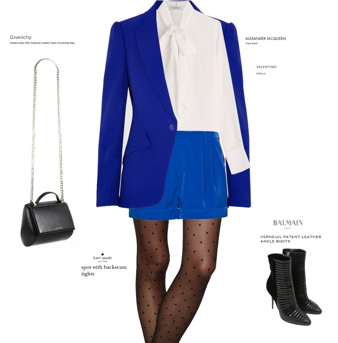 MANGO Electric blue shorts ink blue Cortita with blue alexander mcqueen blazer balmain ankle boots givenchy bag kate spade stockings valentino white silk blouse