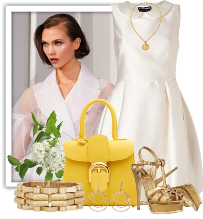 outfit idea for the Delvaux Brillant Mini yellow leather handbag