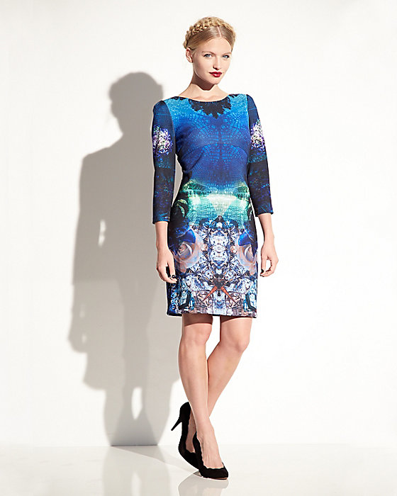 Betsey Johnson mulit colored digital print long-sleeved dress