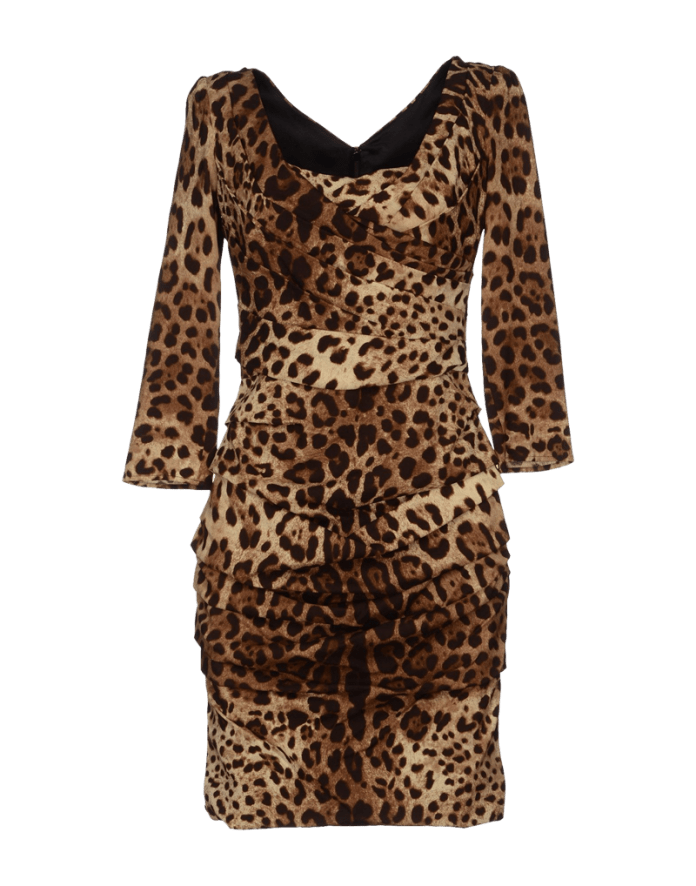 Dolce Gabbana runched long sleeved short leopard print dress