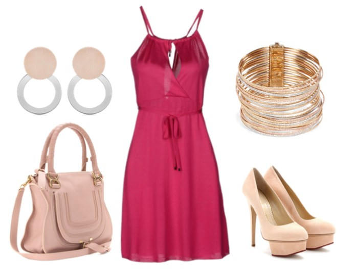 Sexy hot pink dress nude high heel pumps rose gold diamond bangle bracelet chloe bag rose gold and sterling silver earrings