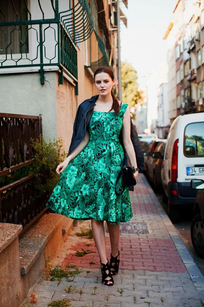 SHEINISIDE green floral print sleeveles dress MANGO biker style jacket ZARA clutch ZARA sandals