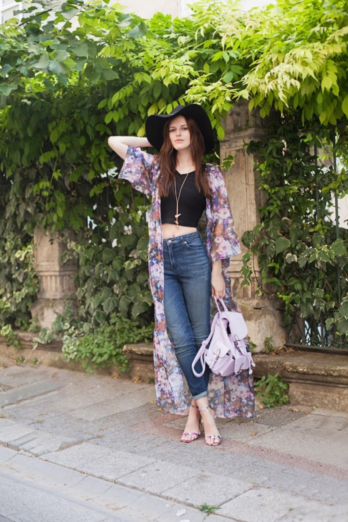 viktoriya sener tiebow-tie MISSGUIDED full length purple floral print kimono black cropped top skinny jeans