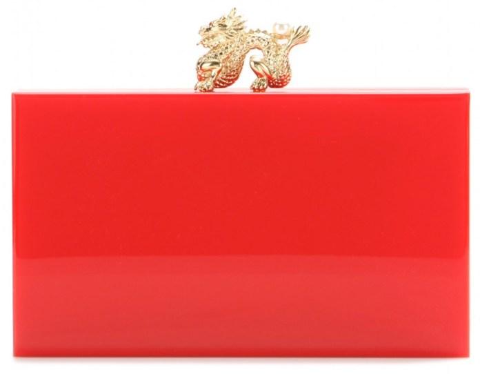 Charlotte Olympia red Dragon Pandora box clutch