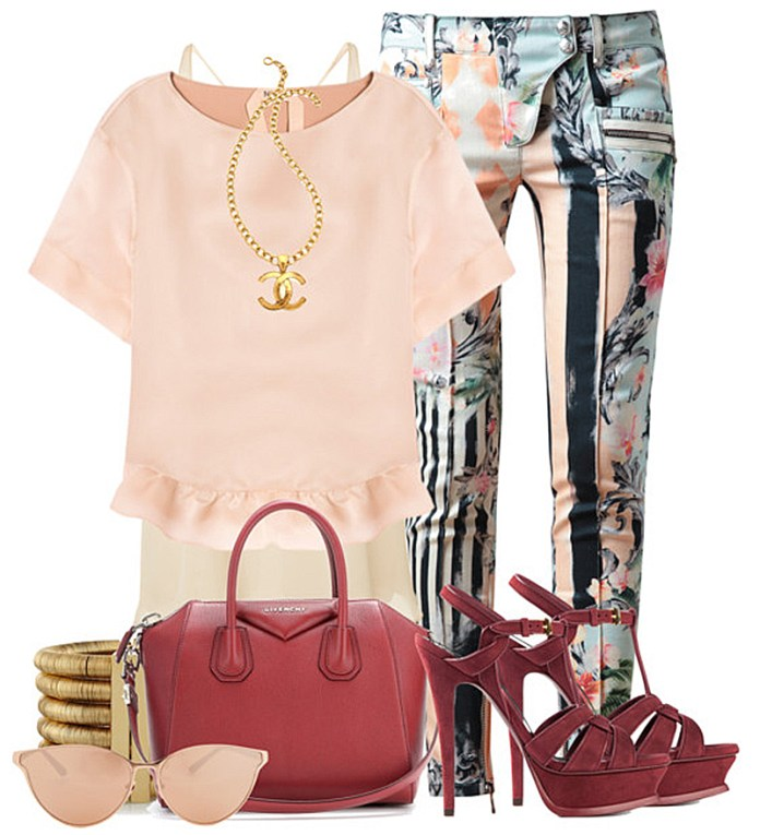 outfit with wine red Givenchy Antigona bag