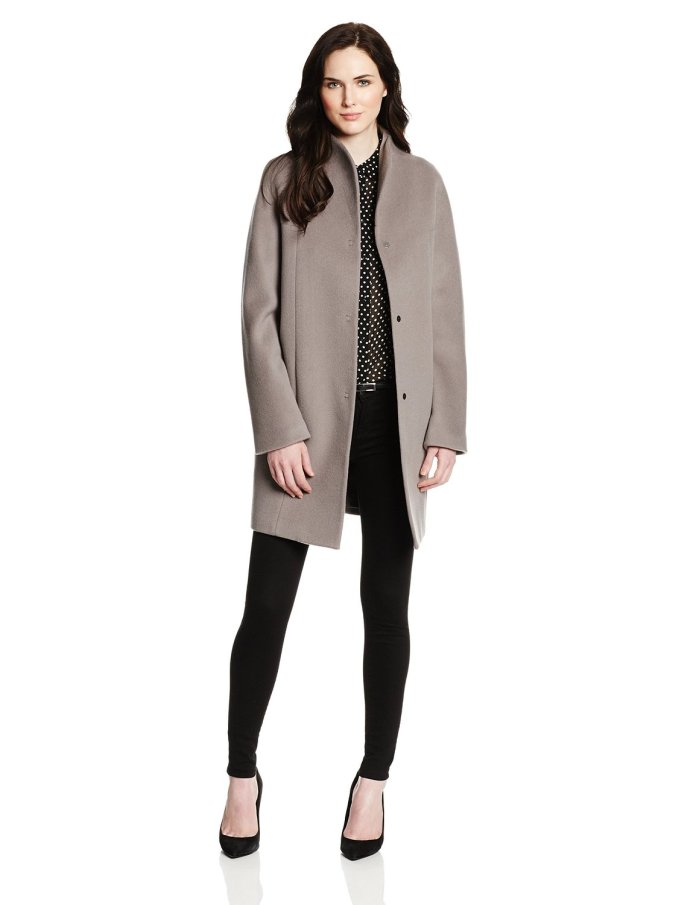 Elie Tahari Womens Dalia Double Face Wool-Blend Cocoon Coat