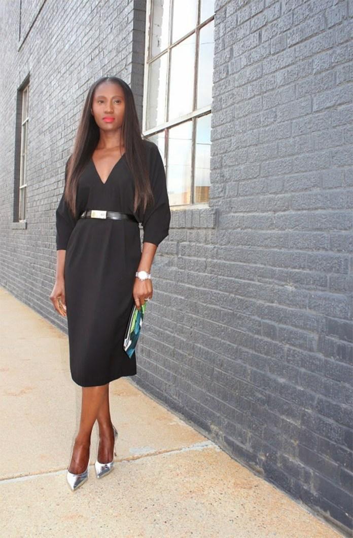 Ranti Onayemi wearing ASOS Batwing Open Back Pleat Dress Manolo Blahnik silver metallic pumps