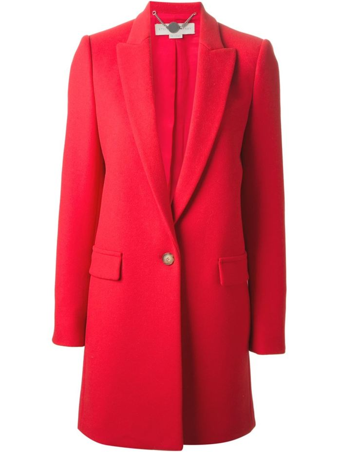 Red cotton and wool blend single breasted coat from Stella McCartney