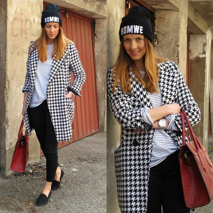 Sladjana Stevanovic from Bosnia and Herzegovina wears a SheInside Black White Long Sleeve Houndstooth Coat