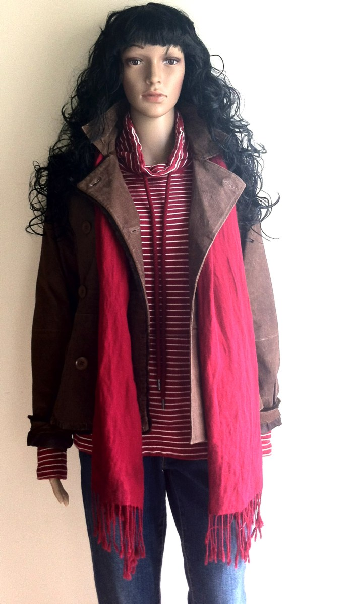 red white striped top brown leather jacket blue jeans black suede buckle boots 2