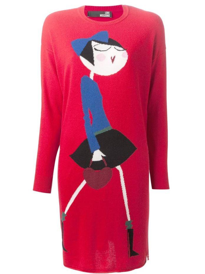 LOVE MOSCHINO printed knit dress