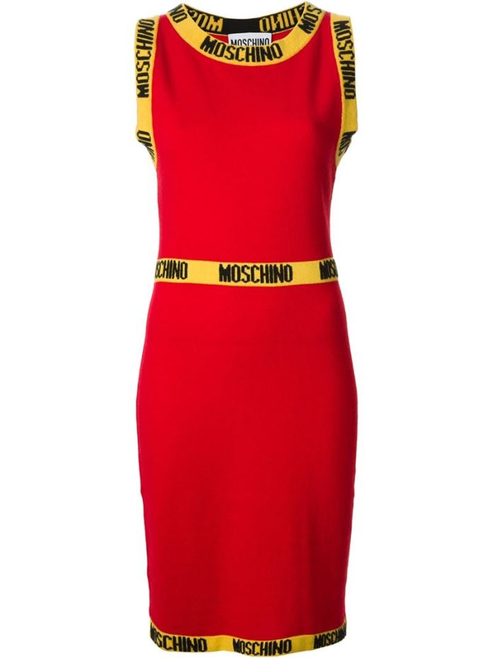 MOSCHINO logo intarsia fitted dress