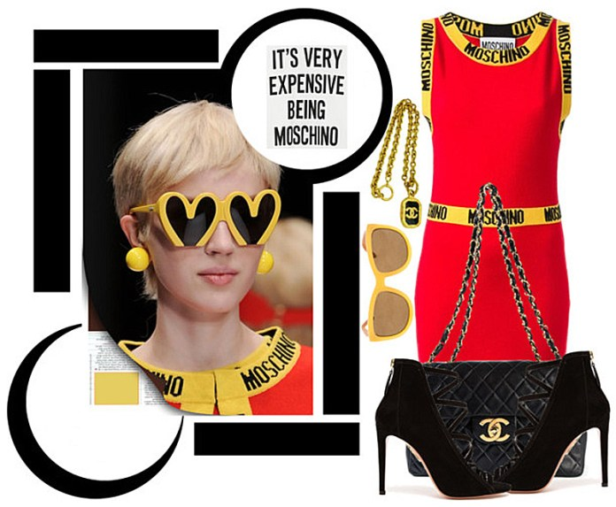 MOSCHINO red logo intarsia fitted dress