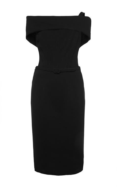 Oscar de la Renta Draped Neck Wool-Blend Dress Black
