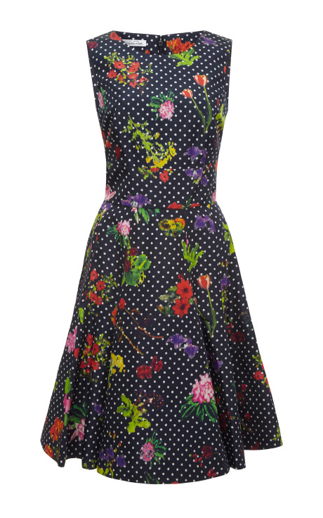 Oscar de la Renta Floral-Print Silk-Faille Dress NAVY