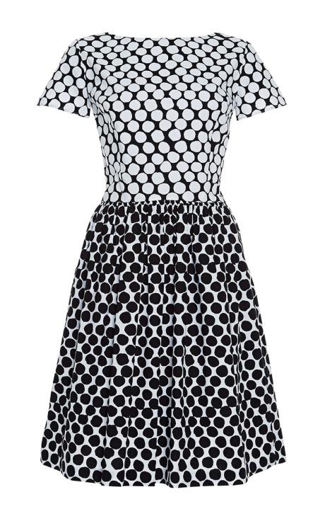 Oscar de la Renta Printed Cotton-Blend Dress Black White