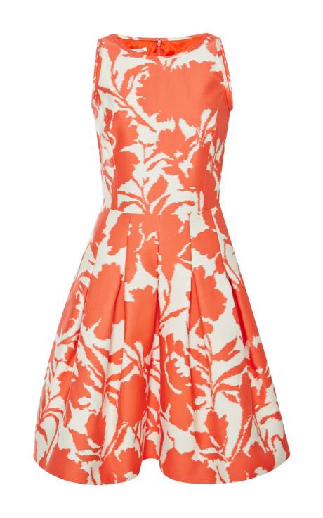 Oscar de la Renta Printed Cotton and Silk-Blend Dress Coral