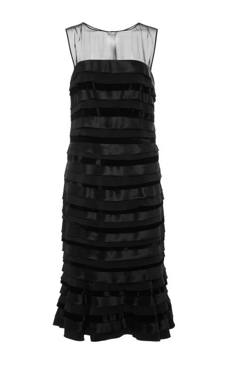 Oscar de la Renta Velvet, Satin and Chiffon Paneled Dress Black