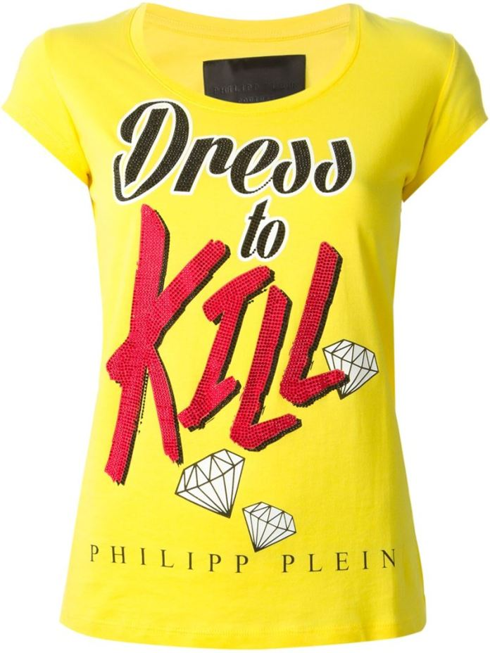Philipp Plein dress to kill print t-shirt yellow
