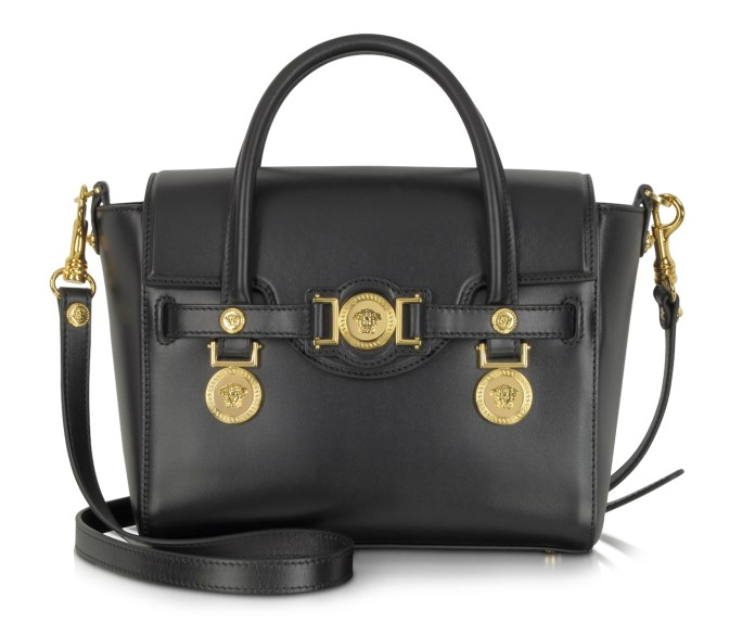 Versace Small Signature Black Leather Handbag