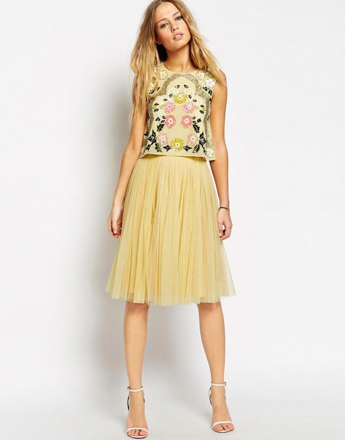 ASOS yellow/rose Needle & Thread Tulle Midi Skirt