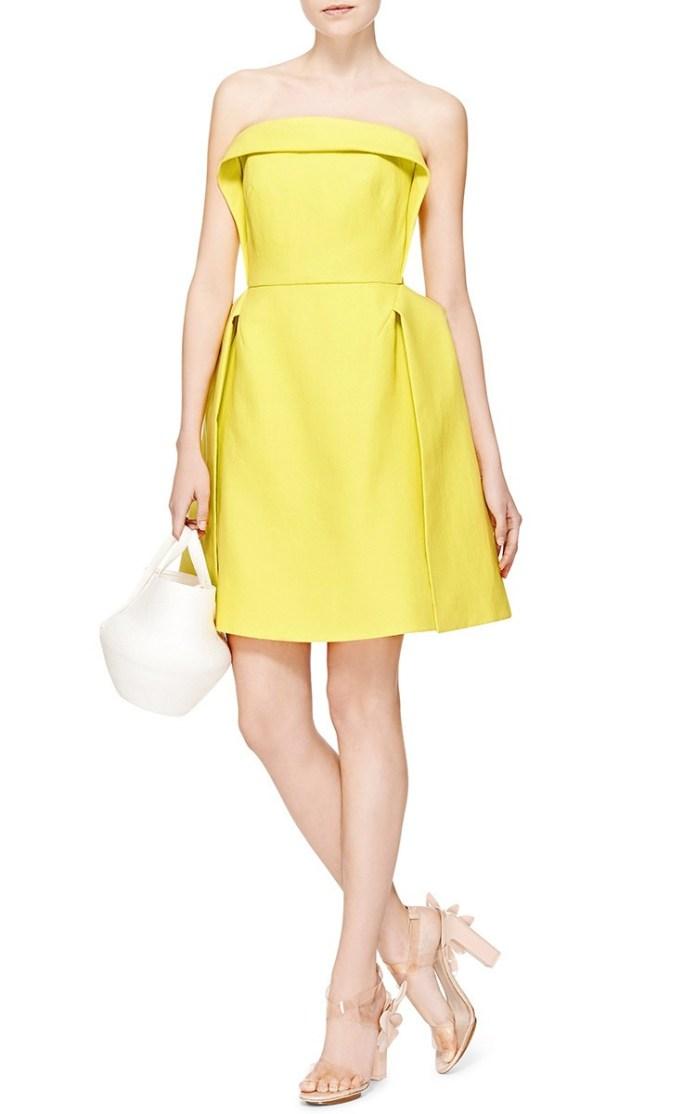 DELPOZO yellow strapless Double Paper Twill Mini dress
