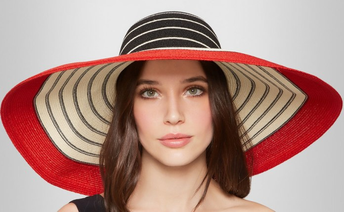 Eugenia Kim Wide-brim striped woven straw sunhat