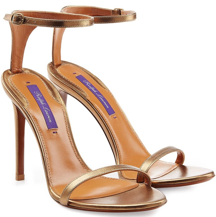 RALPH LAUREN COLLECTION Metallic Leather Sandals