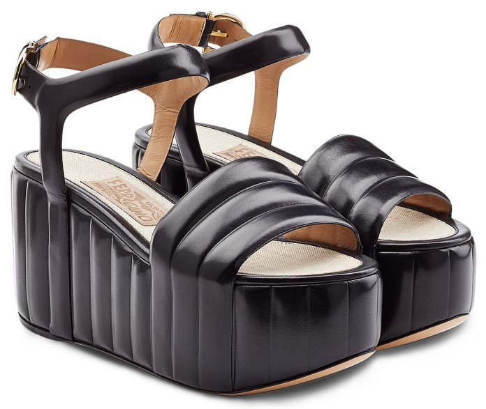 SALVATORE FERRAGAMO Leather Platform Wedges