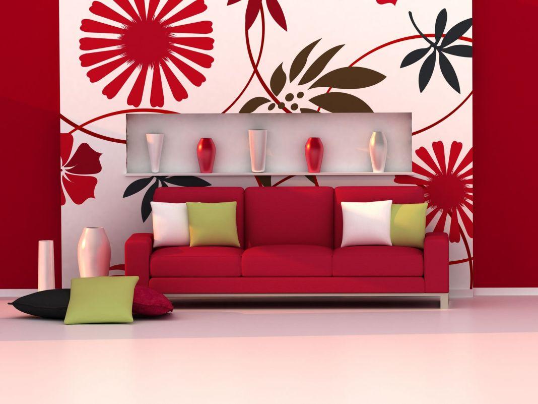 red apartment decor