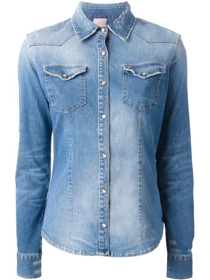 Blue cotton blend distressed denim shirt from +People