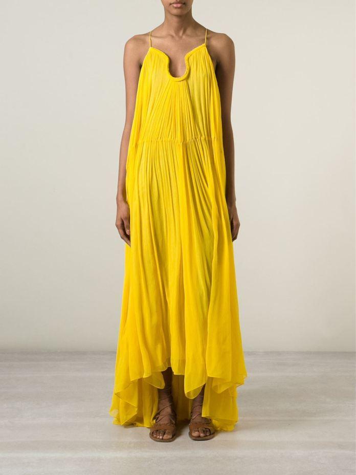 Chloé yellow full length draped dress