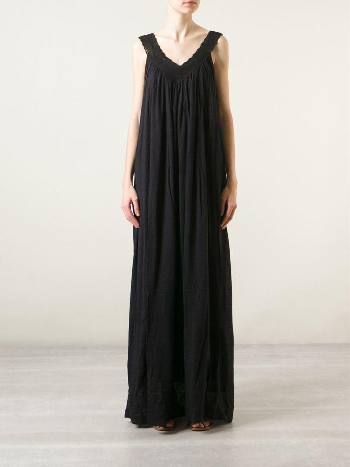 Mes Demoiselles crochet neck maxi dress