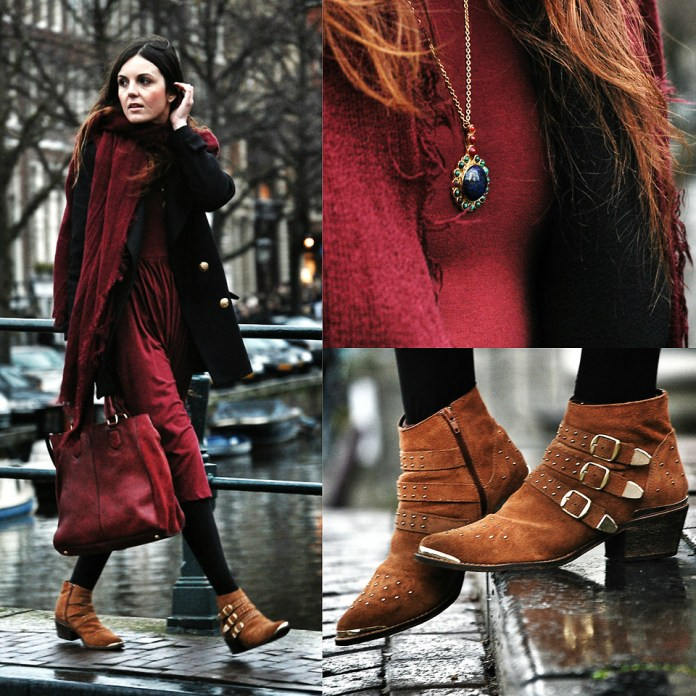 Laura Views from Barcelona Spain wears brown suede boots with a burgundy dress