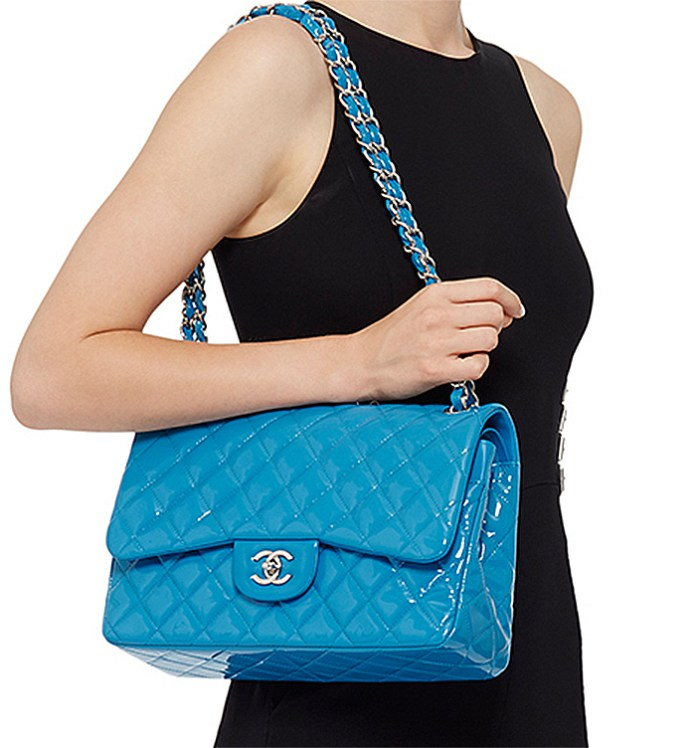 powerball lottery jackpot will you buy Madison Avenue Couture Chanel Turquoise Quilted Patent Jumbo Classic Double Flap Bag if you win