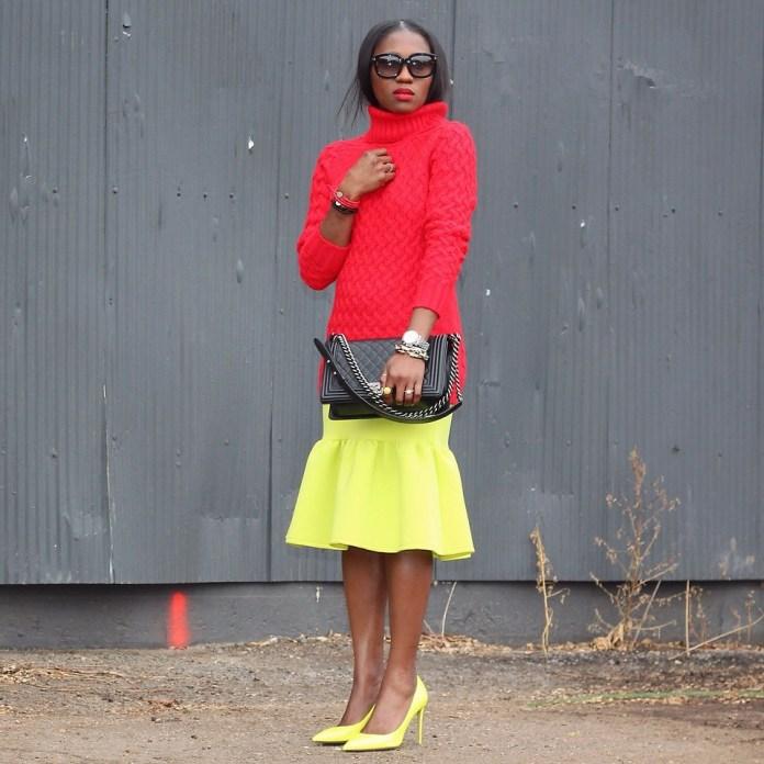 Ranti Onayemi Ranti In Review Blogspot red sweater lemon yellow skirt
