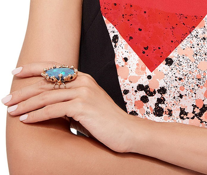 Lucifer Vir Honestus One of a Kind Black Opal Parrucchino Ring