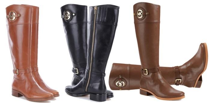 MICHAEL Michael Kors Stockard women riding boots black luggage chocolate