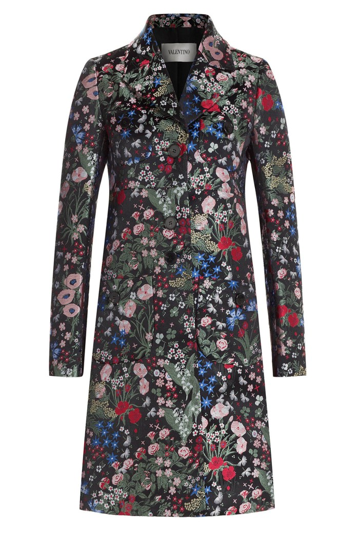 Valentino jacquard coat Celia Birtwell print inspired by Sandro Botticelli Primavera painting