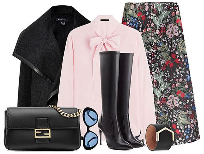 Valentino printed silk midi skirt outfit
