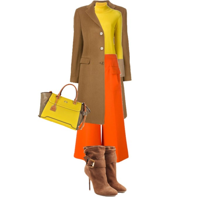 brown orange yellow outfit idea 2