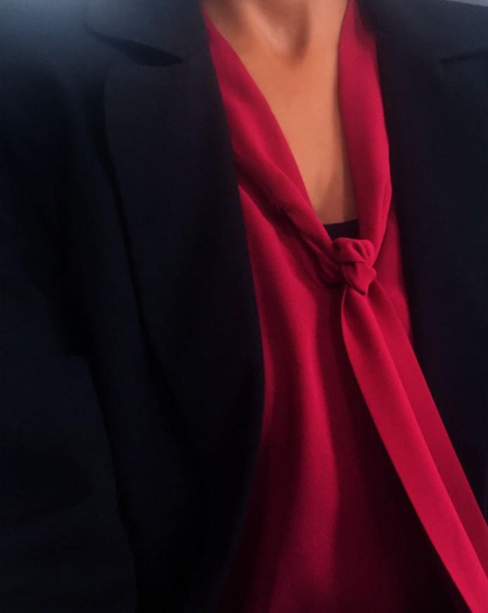 burgundy tie bow blouse black leather pencil skirt black blazer
