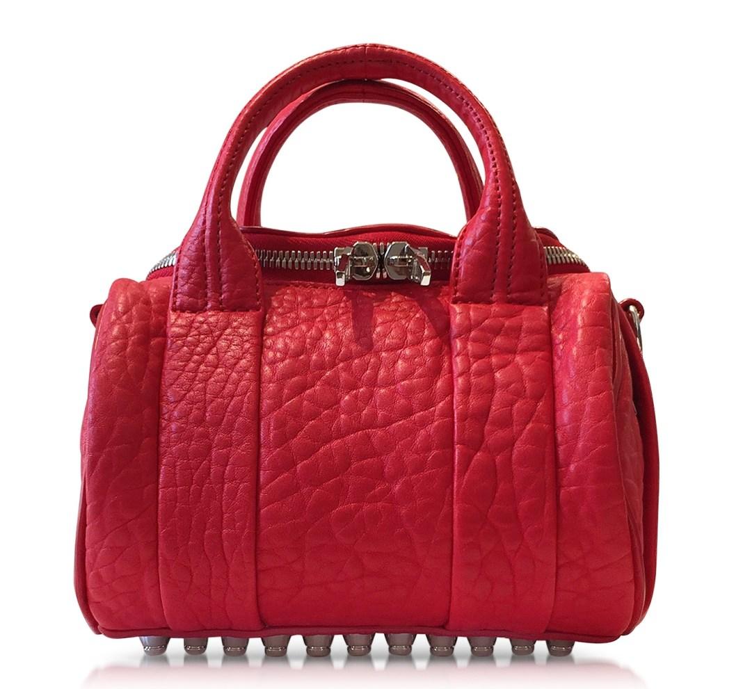 Designer handbags - Alexander Wang Mini Rockie Coral Pebbled Leather Satchel