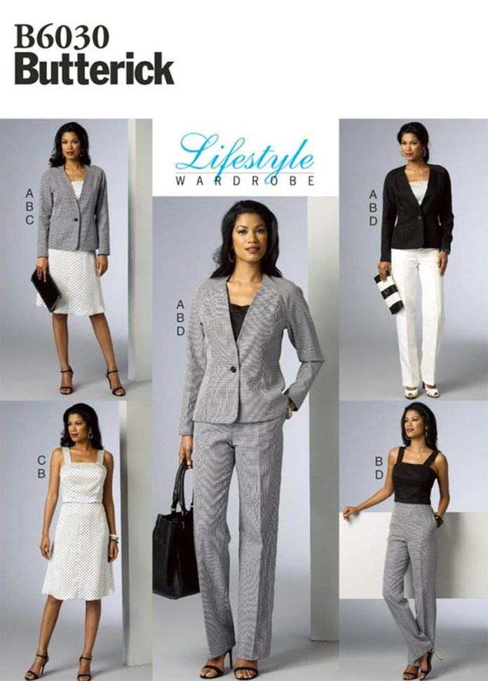 B6930 Butterick lifestyle wardrobe suit jacket pants skirt pattern